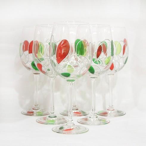 Verres à vin peints à la main