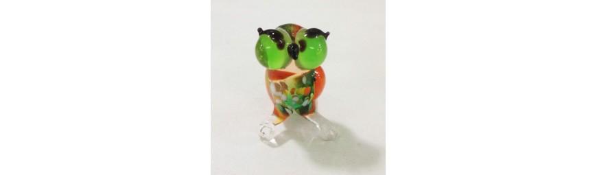 Animaux en verre -  Chouette en verre -  Cristallerie de la Fontaine