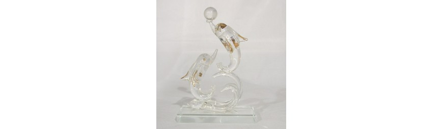 Animaux en verre -  Dauphin en verre -  Cristallerie de la Fontaine