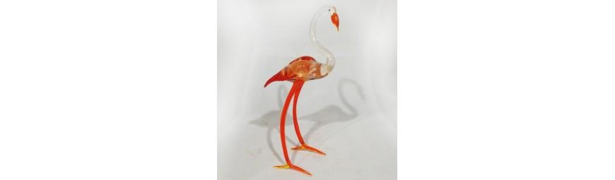 Animaux en verre -  Flamant rose en verre -  Cristallerie de la Fontaine