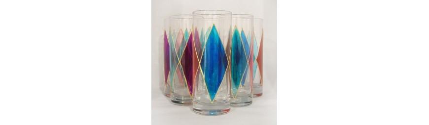 Services de verres -  Collection Losange Bleu -  Cristallerie de la Fontaine