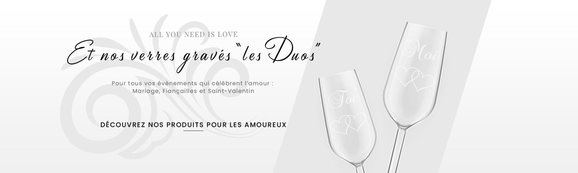 Nos verres gravés pour tous les évènements qui célèbrent l'amour